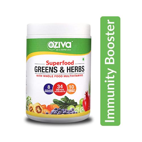 OZiva Superfood Greens & Herbs, Enhanced Immunity Booster for Adults & Detoxification,